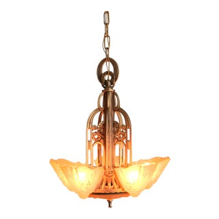 1935 Restored Lincoln Manufacturing 5 Light Chandelier