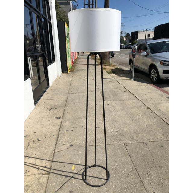 Fabric 1980s Vintage Minimalist Iron Tripod Floor Lamp For Sale - Image 7 of 7