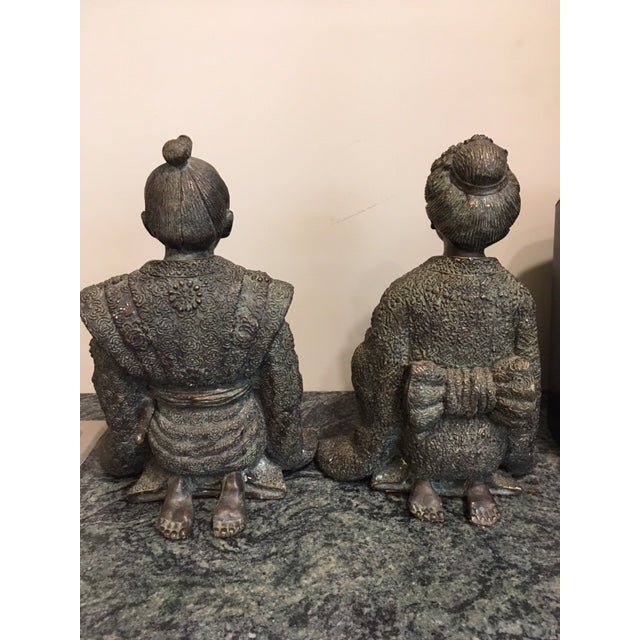 Asian Pair Japanese Bronze Figures For Sale - Image 3 of 7