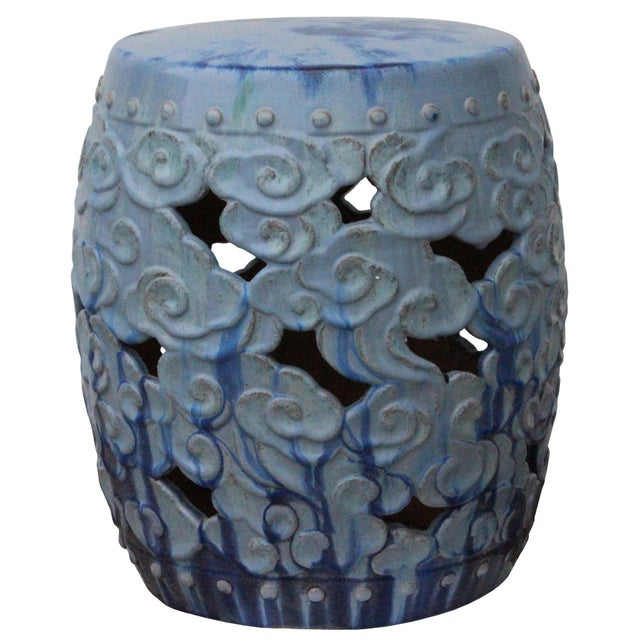 Ceramic Ceramic Clay Light Blue Glaze Round Scroll Pattern Garden Stool For Sale - Image 7 of 9