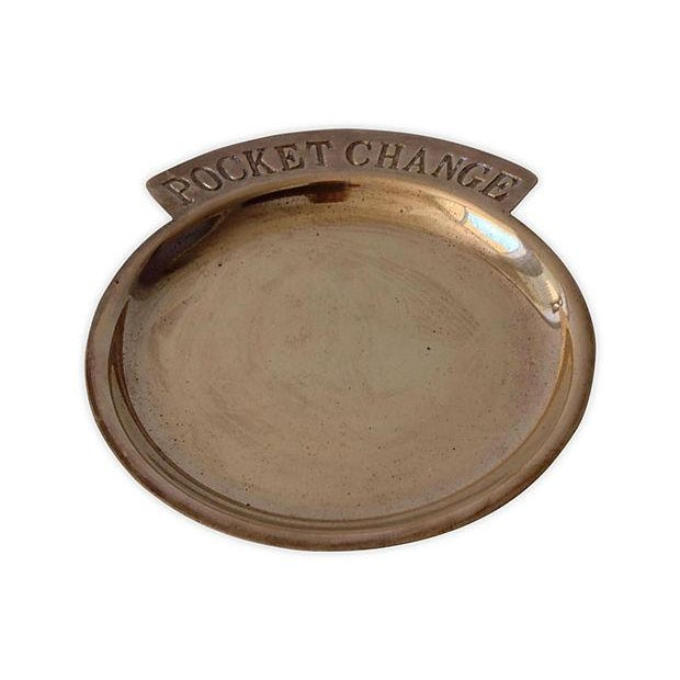 1960's Brass pocket change gentleman's valet dish. Marked on verso Made in India. Great patina for era, needs better...