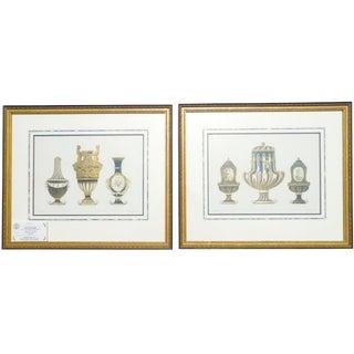1899 Framed Porcelain Object Prints- A Pair For Sale