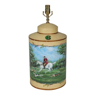 Vintage English Hand-Painted Hunting Scence Tea Caddy Table Lamp For Sale