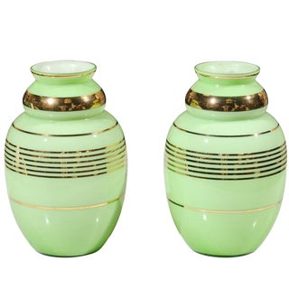 19th Century French Mint Colored Opaline Vases - a Pair
