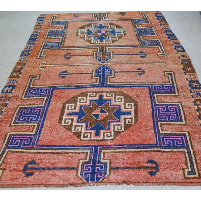 Vintage Kurdish hand knotted rug with great colors, fine weave and beautiful pattern with soft texture.