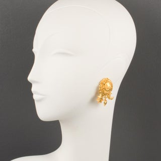 Christian Lacroix Paris Clip on Earrings Gilt Metal Dangling Charms Preview