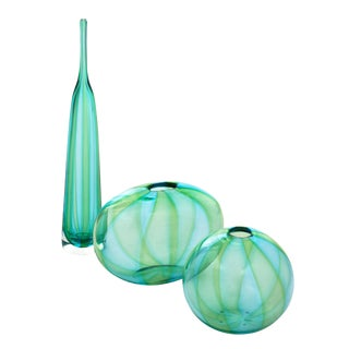 1980s Hand Blown Murano Glass Trio - Set of 3 For Sale