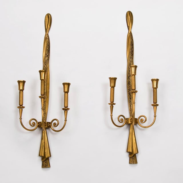 """Gilded metal neoclassical style sconces by Lumi feature three candelabra size sockets each and are over 30"""" tall. Sconces..."""