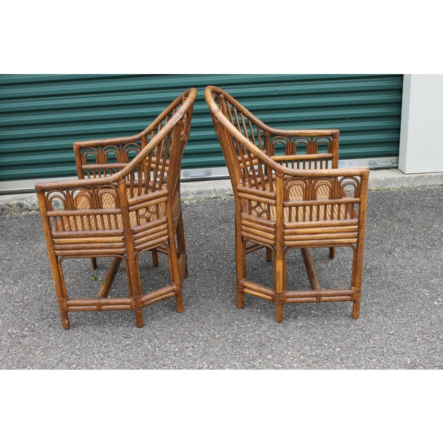 Wood Chinoiserie Bamboo Rattan Brighton Pavilion Chairs - a Pair For Sale - Image 7 of 9