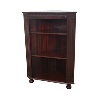 Mahogany Corner Open Bookcase with Turned Feet For Sale