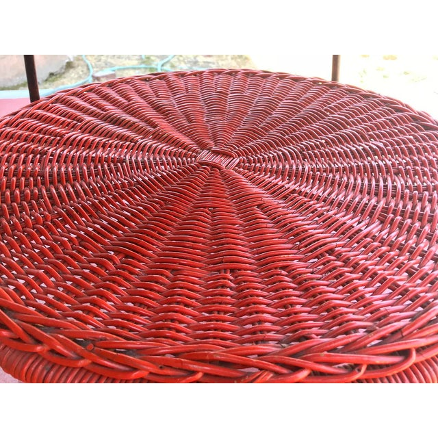 Carl Auböck 1950s Mid-Century Modern Carl Aubock Style Red Rattan & Wrought Iron 2-Tier Side Table For Sale - Image 4 of 8