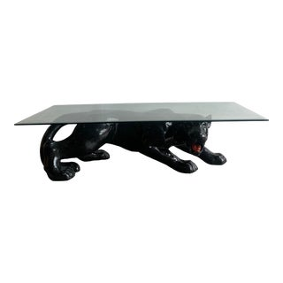 Vintage Postmodern Panther Coffee Table For Sale