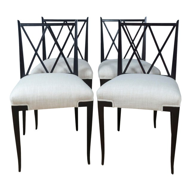 Mid Century Tommi Parzinger Double 'X' Back Chairs- Set of 4 For Sale
