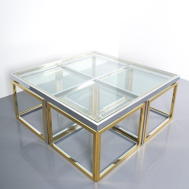 Square Segment Bicolor Brass Glass Coffee Table by Maison Charles, France 1975 For Sale - Image 9 of 13