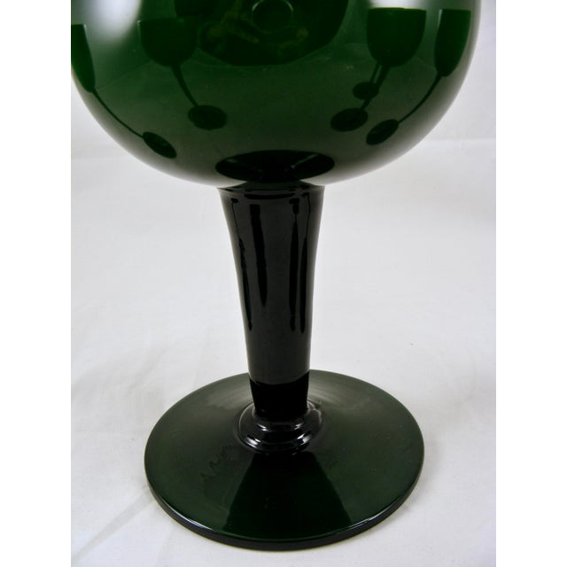 Carlo Moretti Mid Century Green and White Cased Pedestal Pitcher and 5 Wine Glasses For Sale In New York - Image 6 of 9