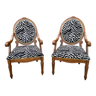 Pair of Zebra Upholstered Arm Chairs For Sale