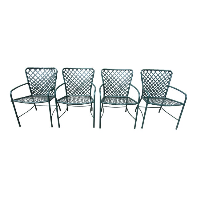 Vintage Brown Jordan Mid-Century Green Tamiami Outdoor Chairs - Set of 4 For Sale