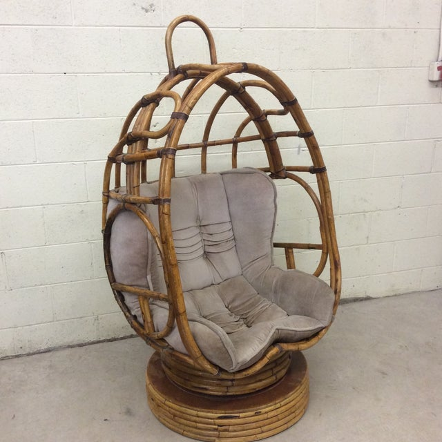 Groovy 70s Bamboo Egg Swivel Chair For Sale - Image 12 of 12