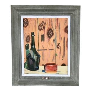 """Mid-Century """"My 1st Painting"""" Oil on Board Painting by L. Beique For Sale"""