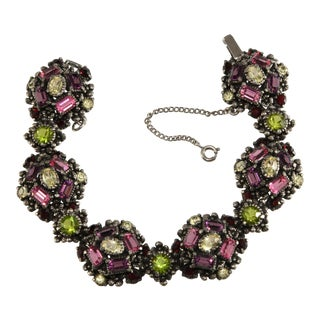 Hollycraft Bracelet Green Pink Purple Red Rhinestones For Sale