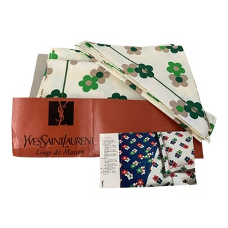 Vintage Yves Saint Laurent Full Size Dead Stock Retro Floral Green and White Pillow Covers and Sheets - 4 Pieces For Sale