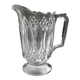 1898 Early American Pattern Glass Decorated Pitcher For Sale