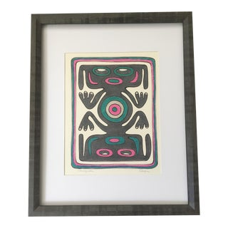 "1970s Vintage Reefna ""Venezuela"" Framed Abstract Tribal Inspired Print For Sale"