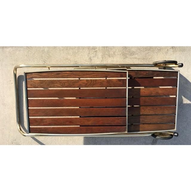 Mid-Century Wood Slat & Metal Rolling Bar Cart - Image 9 of 10