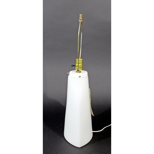Contemporary 1970s Large Peill Putzler Koch & Lowy Mid-Century Modern White Glass Table Lamp For Sale - Image 3 of 8