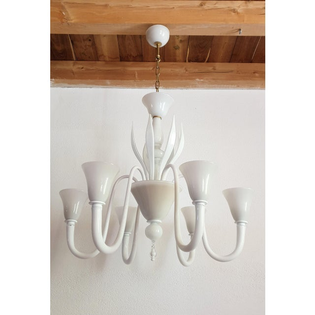 Paolo Venini Large Mid-Century Modern 6 Lights Milk Murano Glass Chandelier by Venini For Sale - Image 4 of 11