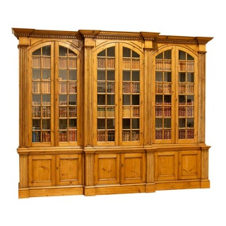 Early 20th Century Antique Pine Bookcase Display Cabinet For Sale