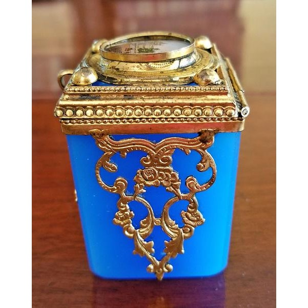 Grand Tour 19c Continental Turquoise Glass Box With Miniature of Palace Scene For Sale - Image 3 of 8