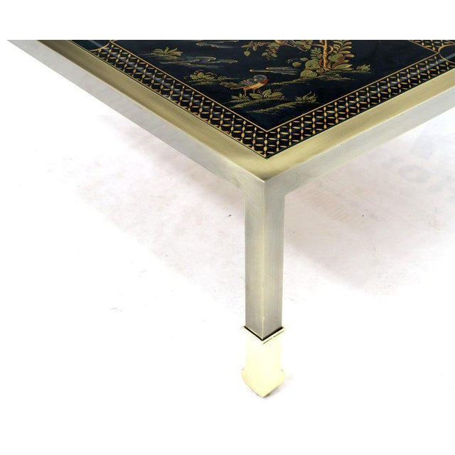 Brass and Gold Decorated Reverse Painted Glass Top Square Coffee Table For Sale - Image 9 of 13
