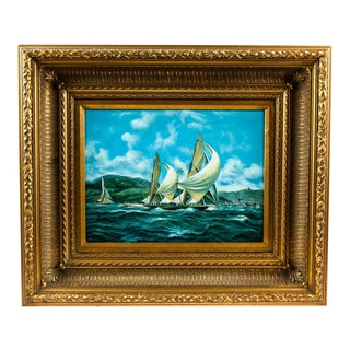 Gilded Wood Framed Oil Painting on Canvas For Sale