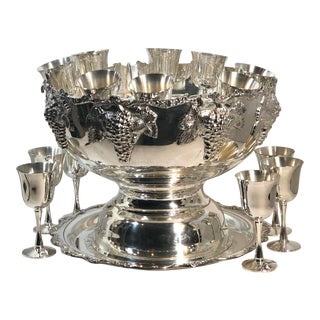 Large Silver Plated Wine Chiller or Punch Bowl With Wine Goblets Tray - 18 Piece Set For Sale