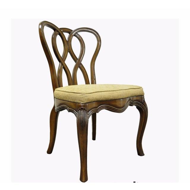 Vintage Hollywood Regency Solid Wood Loop Back Side Occasional Desk Dining Chair For Sale - Image 11 of 11
