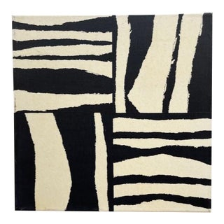 Contemporary Modernist Inspired Black and White Acrylic Painting For Sale