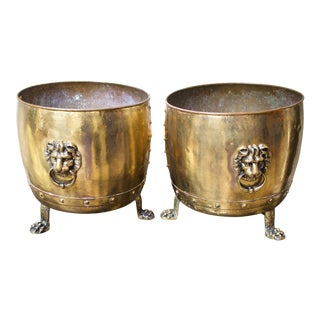 19th Century English Brass Planters with Lion Handles - a Pair For Sale