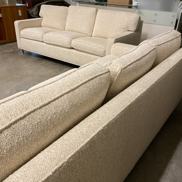 White Custom Designed Nubby Cotton Three Seater Sofas - a Pair For Sale - Image 8 of 9
