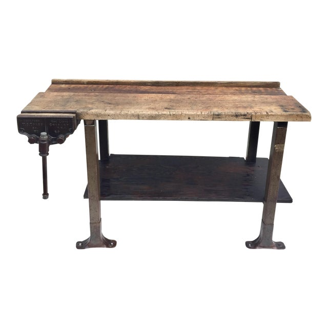 Vintage Industrial Workbench With Table Vise For Sale