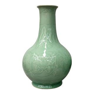 Floral Design Celedon Vase
