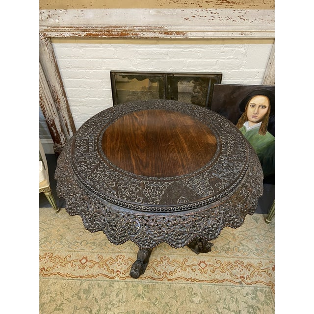 Wood 19th Century Burmese Round Center Table For Sale - Image 7 of 10