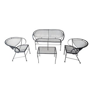 Mid-Century Modern Salterini Style Black Wrought Iron Patio Set- 4 Pieces For Sale