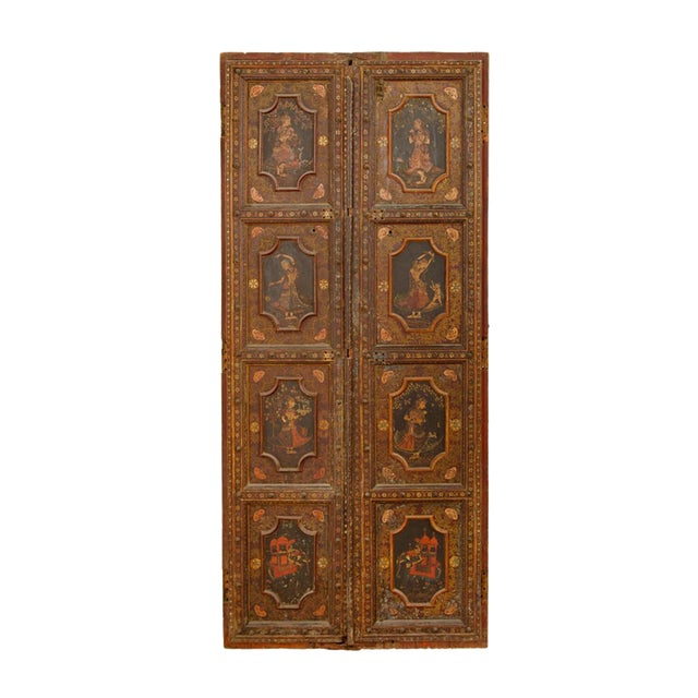 Mid 19th Century Antique Painted Doors - a Pair For Sale