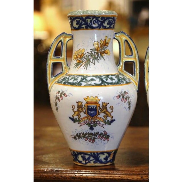 19th Century French Hand Painted Faience Vases Signed Hr Quimper - a Pair For Sale - Image 9 of 11