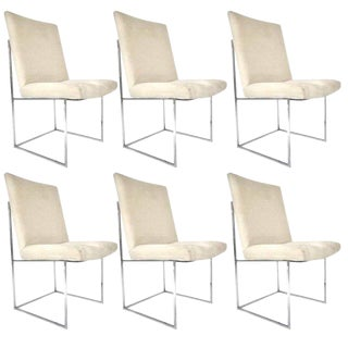 Milo Baughman for Thayer Coggin Chrome Framed Dining Chairs With Ultrasuede For Sale