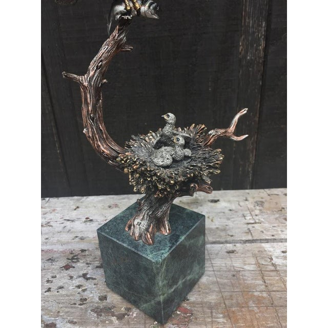 """""""Sunday Brunch"""" Bronze/Marble Eagle Sculpture by Kitty Cantrell For Sale - Image 4 of 11"""