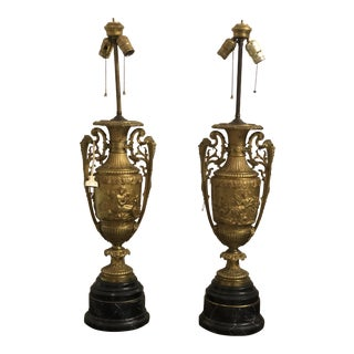 Pair of Gilt Bronze Urn Lamps on Marble Bases