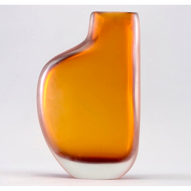 Limited Edition Amber Murano Cased Glass Vase By Arcade Chairish