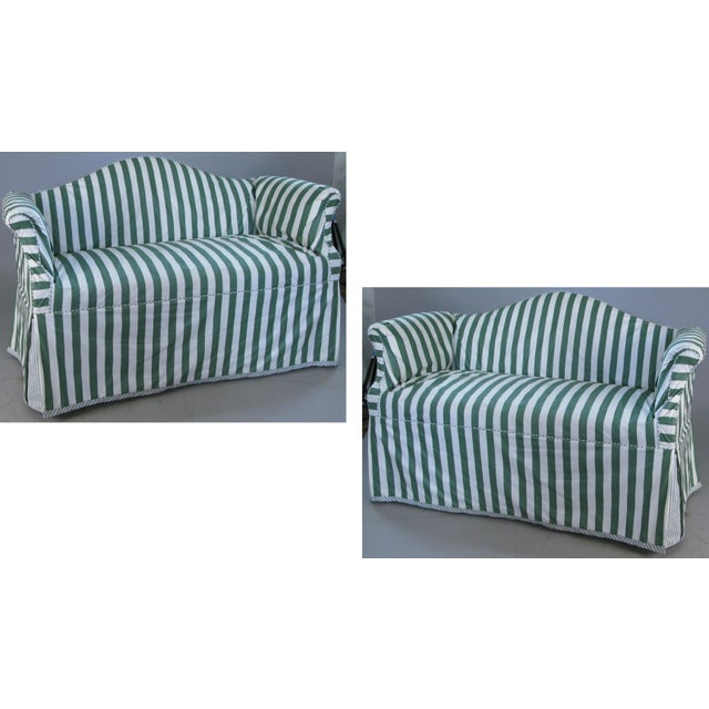 Petite Camelback Settees With Slipcovers in Green & White - a Pair For Sale - Image 10 of 10
